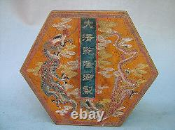 9Old Antique Chinese Ancient Boxwood Lacquer Dragon Painting Jewelry Box