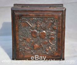 9.2 Old Chinese Wood Hand-carved Dynasty Palace Blessing Peach Bat Jewelry Box
