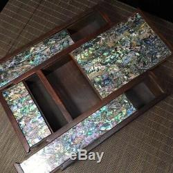 9 Chinese old hand carved huanghuali wood inlay shell Jewelry Storage box