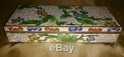 ANTIQUE 1900-1920 LARGE Chinese 7 1/2 Cloisonne Hinged Compartment Jewelry Box
