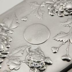 ANTIQUE 20thC CHINESE SOLID SILVER DECORATIVE JEWELLERY BOX, SING FAT c. 1900