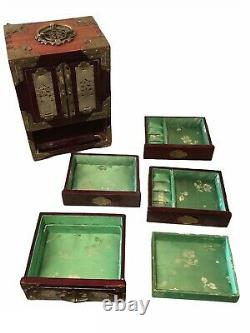 ANTIQUE CHINESE JEWELRY BOX Nephrite Jade Rosewood Brass withSilk Lined Drawers