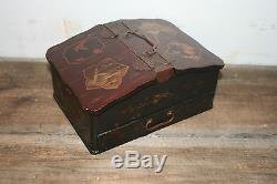 ANTIQUE CHINESE LACQUERED WOOD TEA CADDY JEWELRY DOCUMENT BOX With KEY JAPANESE