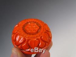 ANTIQUE CHINESE RED LACQUERWARE TRINKET RING or JEWELRY BOX