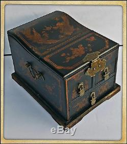 ANTIQUE CHINESE ROSEWOOD MAKE-UP VANITY FOLD-UP MIRROR JEWELRY BOX With3 DRAWERS