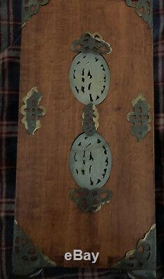 ANTIQUE Old Chinese Hand Carved Jade Brass Wood Jewelry Box