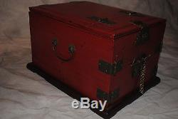 ANTIQUE VINTAGE Chinese Japanese Asian Handmade Jewelry Box Red Lacquer withMirror