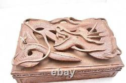 ATQ Chinese Hand Carved Wood Trinket Jewellery Box With 3D Dragon Carving VTG