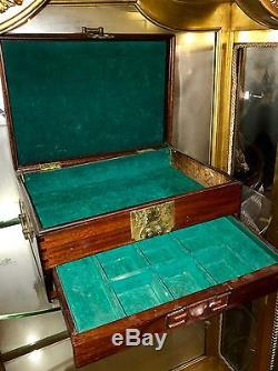 A Large Chinese Decorated Wood Jewelry Box