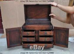 A old chinese huanghuali wood carved peony Magpie bird Cabinet Chest Jewelry box