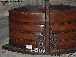 Ancient Old Chinese Boxwood wood Hand carved lunch box Jewelry Box Storage Boxes