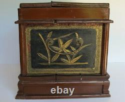 Antique 1800's Chinese Makeup Vanity Jewelry Box with Flip up Mirror