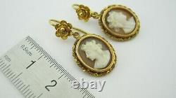 Antique 18ct Gold Chinese Cameo Earrings in Original Carved Box