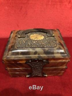 Antique 19th C. Carved Canton Chinese Faux Tortoiseshell Cantilever Jewelry Box