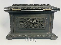 Antique 19th Century Chinese Finely Hand-Carved Black Wood Jewelry Box 6.5x5x5