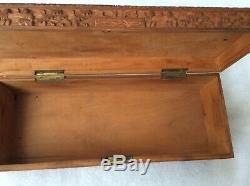 Antique 19th century chinese cantonese carved sandalwood jewelry box signed