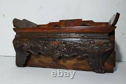 Antique Asian Chinese Dovetailed Hand Carved Painted Wood Jewelry Box Chest