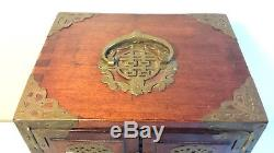 Antique Asian Chinese Jade Brass Wood Jewelry Box Chest 11 tall