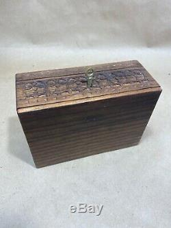 Antique Asian Chinese Oriental Carved Wood Trinket Box with Tray & Key Jewelry