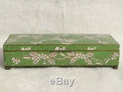 Antique Asian Green Floral Enamel Cloisonne Humidor Jewelry Trinket Box 7.25 in