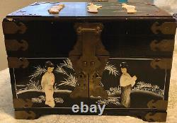 Antique Asian Jewelry Chest With Vintage Jewelry Included