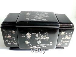 Antique Asian Wood Lacquered Mother Of Pearl Inlay Cosmetic Jewelry Box Mirror