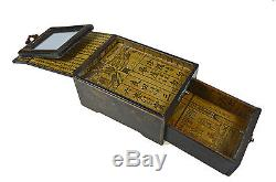 Antique Black And Gilt Jewellery Box With Drawer and Mirror, Chinese