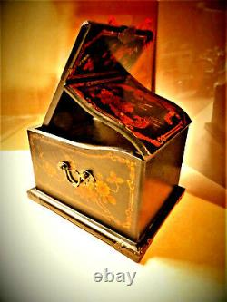 Antique Black Lacquered Oriental Chest Travel Jewelry Trinket Box