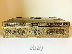 Antique Brass Chinese Chased Engraved Bath Dragon Jewelry Box Signed