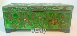 Antique CHINA Chinese STAMP Trinket Jewelry BOX Enamel Cloisonne Metal QING