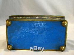 Antique CHINESE CLOISONNE JEWELRY BOX HUMIDOR YELLOW DRAGONS