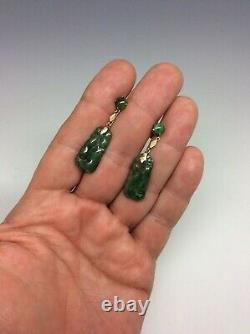 Antique Chinese 14K Gold Jade Carved Fruit Earrings with Silk Box