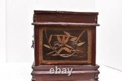 Antique Chinese Asian Wood GOLD Openwork Jewelry Box Folding Vanity mirror OLD