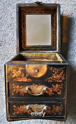 Antique Chinese Black Lacquer Hand Painted Jewelry Chest Box 3 Drawer Mirror Top