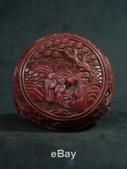 Antique Chinese CINNABAR Jewelry Round Box Red Lacquer Landscape 18/19th