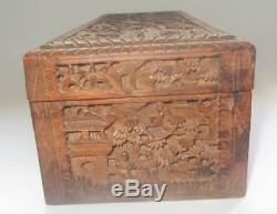 Antique Chinese Cantonese Carved Sandalwood Jewelry gloves Box