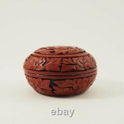 Antique Chinese Carved Cinnabar Lacquer Box Jewelry Dish /g