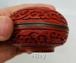 Antique Chinese Carved Cinnabar Lacquer Jewelry Trinket Box Republic Period