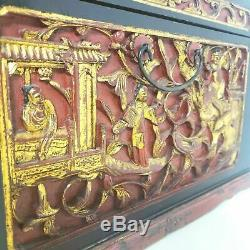 Antique Chinese Carved Panels Lacquered & Cinnabar Dresser Jewelry Box Case