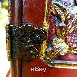 Antique Chinese Carved Panels Lacquered Dresser Jewelry Box Case