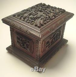 Antique Chinese Carved Sandalwood Jewelry Box with Insert- Circa 1850's