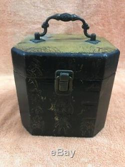 Antique Chinese Carved Wood/Brass Financials & Jewelry Box