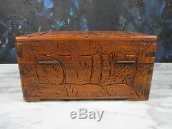 Antique Chinese Carved Wood Stash Box Jewelry Chest Hollywood Regency Lock & Key