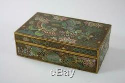 Antique Chinese Cloisonne Jewelry Box Floral & Butterfly Patterns