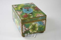 Antique Chinese Cloisonne Jewelry Box Lotus Patterns