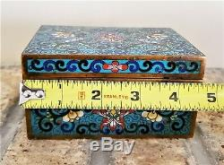 Antique Chinese Cloisonne Trinket or Jewelry Box Qing Dynasty not Vase Bowl