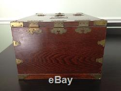 Antique Chinese Cosmetic Box Ca1900 Wood Mirror Jewelry Vanity Make Up Asian Vtg