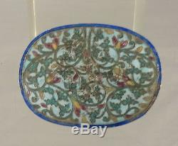 Antique Chinese Enameled Silver Jewelry Trinket Box Floral Decoration As Is