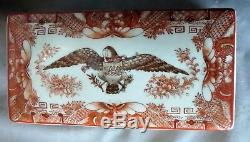 Antique Chinese Export Armorial Porcelain box jewelry trinket Eagle Pluribus