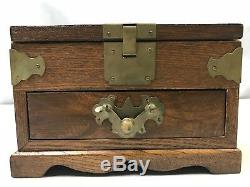 Antique Chinese Export Cosmetic Jewelry Chest Wood Box with Accent Hardware